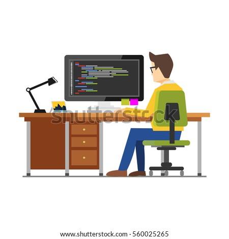 Programmer workspace. Programming. Development. Person working on computer. Work place concept.
