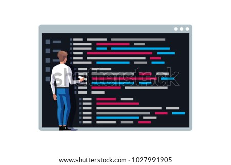 Programmer writing a code. Young programmer coding a new project near console on symbol of command line. Vector illustration