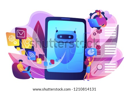 Programmers and chatbot processing natural language. Natural language processing, chatbot natural language, natural language scince concept. Bright vibrant violet vector isolated illustration #1210814131