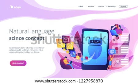 Programmers and chatbot processing natural language. Natural language processing, chatbot natural language, natural language scince concept. Website vibrant violet landing web page template. #1227958870