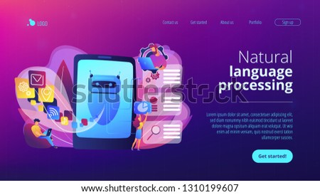 Programmers and chatbot processing natural language. Natural language processing, chatbot natural language, natural language scince concept. Website vibrant violet landing web page template. #1310199607