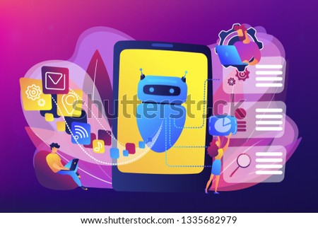 Programmers and chatbot processing natural language. Natural language processing, chatbot natural language, natural language scince concept. Bright vibrant violet vector isolated illustration #1335682979