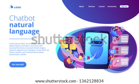 Programmers and chatbot processing natural language. Natural language processing, chatbot natural language, natural language scince concept. Website vibrant violet landing web page template. #1362128834