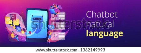Programmers and chatbot processing natural language. Natural language processing, chatbot natural language, natural language scince concept. Header or footer banner template with copy space. #1362149993