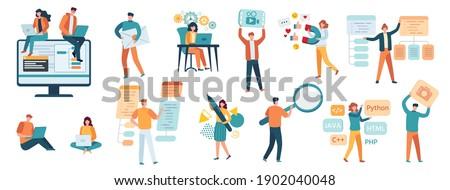 Programmers, developers and designers. IT specialists, freelancer, gamer, smm manager and web developer. People work on computer vector set. Programmer and designer developer illustration