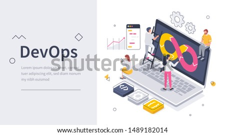 Programmers DevOps Team create System. Developers at Work. Software Development Concept. Can use for Web Banner, Infographics, Hero Images. Flat Isometric Vector Illustration Isolated.