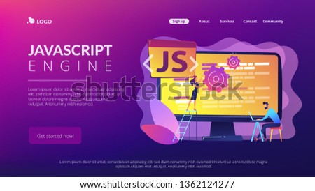 Programmers using JavaScript programming language on computer, tiny people. JavaScript language, JavaScript engine, JS web development concept. Website vibrant violet landing web page template.