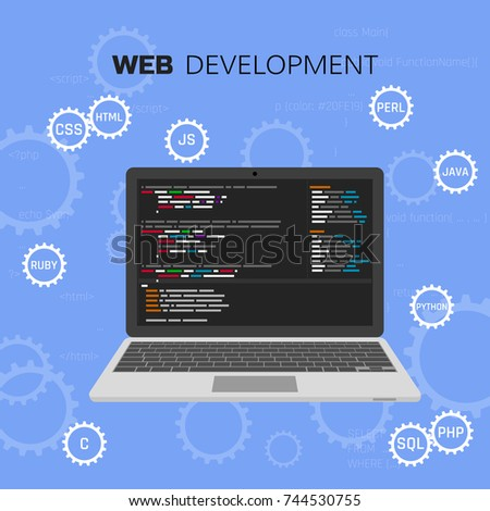 Programming and coding. Programming languages. Web development. Software testing. Concept vector infographic