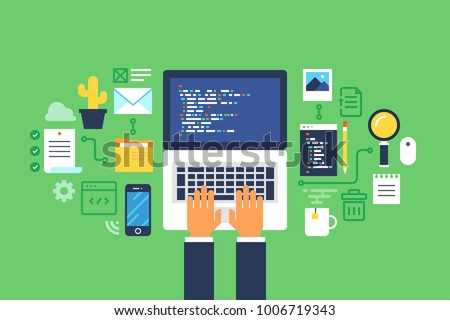 Programming and coding, Website development, Web design.Flat design modern vector illustration concept.