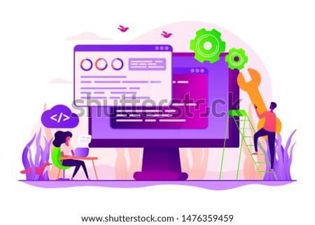 Programming and coding, website, webpage optimization. Back end development, software development process, backend app developer concept. Vector isolated concept creative illustration