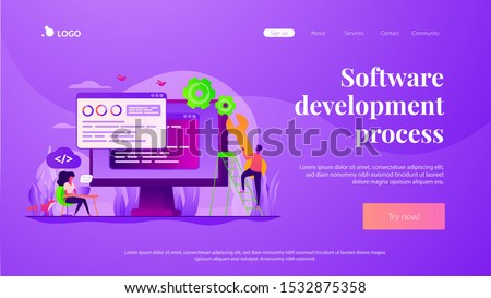 Programming and coding, website, webpage optimization. Back end development, software development process, backend app developer concept. Website homepage header landing web page template.