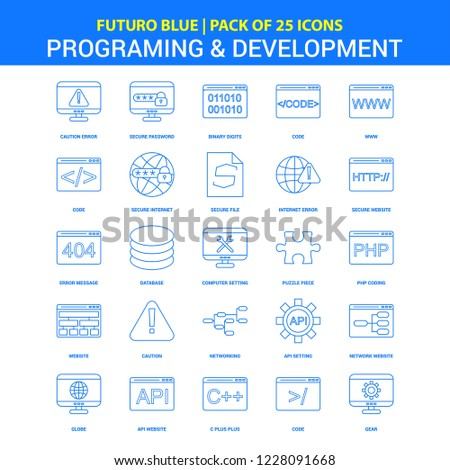 Programming and Developement Icons - Futuro Blue 25 Icon pack