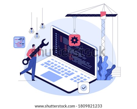 Programming and software development concept. Developer holding wrench, huge laptop with program code on screen. Metaphor of construction application or program by crane. Vector character illustration