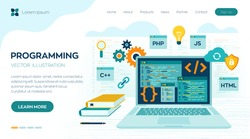 Programming banner, coding, best programming languages. Development and software concept. Computer code with windows on laptop screen. Workplace and working on laptop. Flat vector illustration.
