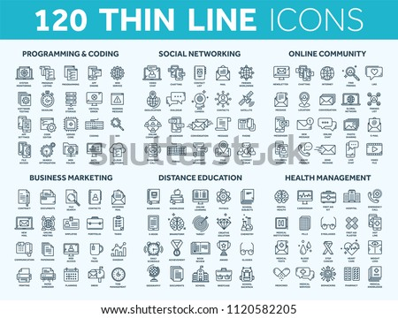 Programming,coding. Data management. Social network, computing. Information. Internet connection. Business marketing. School and education. Medicine. Thin line blue icons set. Stroke.