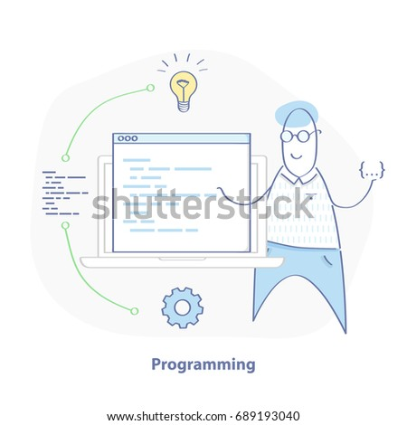 Programming, coding illustration concept. Cartoon programmer with laptop and code. Flat line concept of web development. Isolated vector for web design.