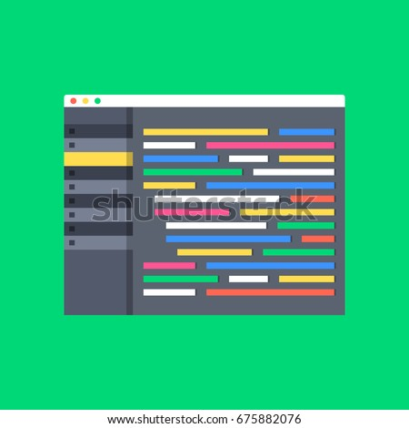 Programming, coding, web development concepts. Code editor window with interface and lines of code. Modern flat design vector illustration