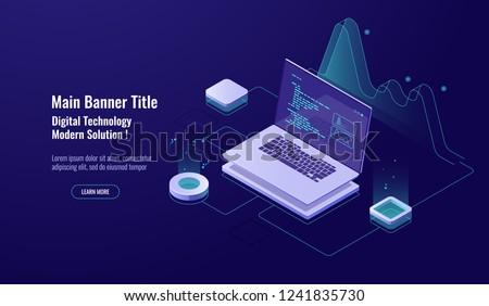 Programming concept isometric icon, laptop with program code on screen, data visualization dark neon vector
