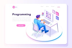 Programming concept, web engineer at work, vector images. Programmer programming web site landing page template. Isometric people, vector design.
