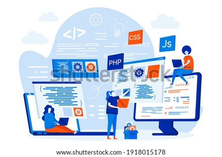 Programming courses web design concept with people. Students studying with computers scene. Online IT courses composition in flat style. Vector illustration for social media promotional materials.