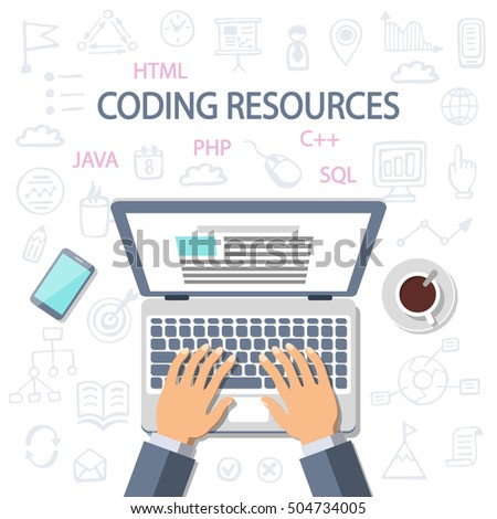 Programming, development background. Coding resources. Software, Mobile apps development. Developer working at a laptop, top view. Flat style and doodle icons in background, vector illustration.