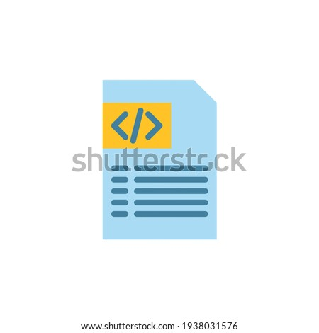 Programming file icon in flat style. Flat icon vector