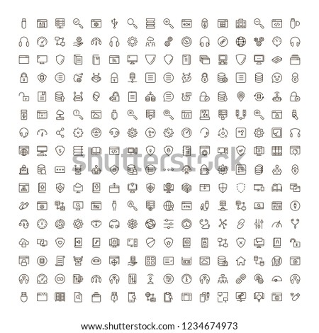 Programming icon set. Collection of high quality black outline logo for web site design and mobile apps. Vector illustration on a white background.