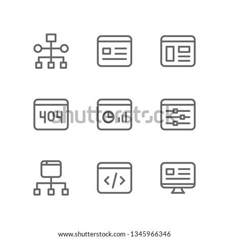Programming icon set including workflow, landing page, website, error, dashboard, web slider, sitemap, coding