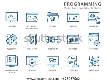 Programming icons, such as develop, software, coding, algorithm and more. Vector illustration isolated on white. Editable stroke.