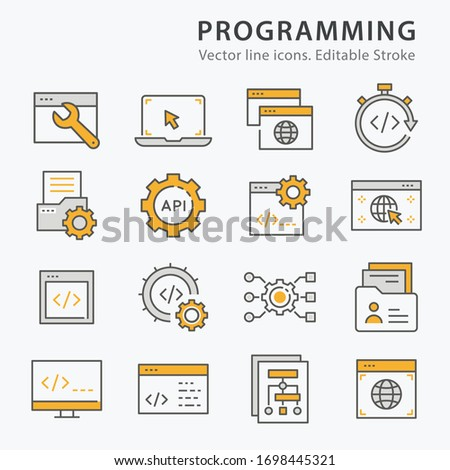 Programming icons, such as software, coding, browser, algorithm and more. Vector illustration isolated on white. Editable stroke.