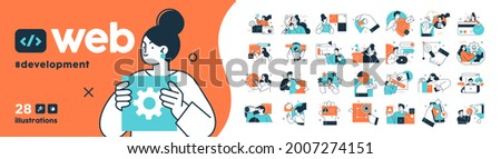 Programming Illustration Set. Different characters working on web and application development on computers. Software developers. Flat vector style illustrations.