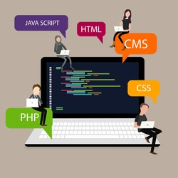programming in laptop screen PHP HTML CSS