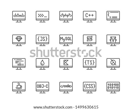Programming languages flat line icons set. Html code, php, java language, python on computer desktop vector illustrations. Outline signs for software development. Pixel perfect. Editable Stroke.