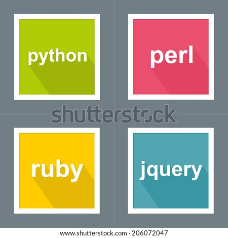 Programming Languages Icon Set with long Shadow and white Frame (Python, Perl, Ruby, Jquery)