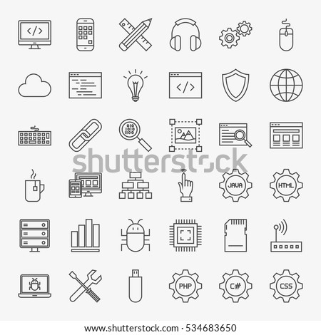 Programming Line Icons Set. Vector Collection of Modern Thin Outline Coding and Web Development Symbols.