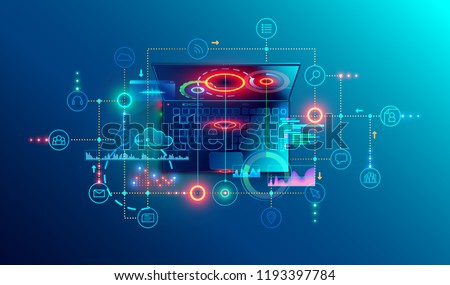 Programming or Software development abstract concept. Top view at screen laptop with business icons, programming language or fragments coding. Technology banner of Software developer company