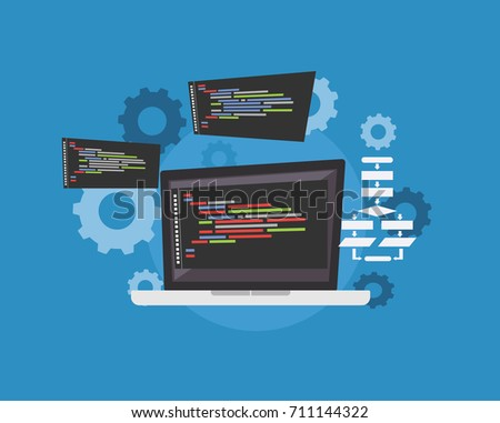 Programming script illustration. Coding. Application development