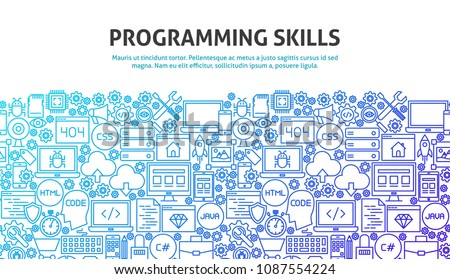 Programming Skills Concept. Vector Illustration of Line Website Design. Banner Template.