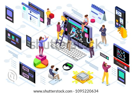 Programming software interface on device by engineers. Application for company project. A space of professional solutions for systems and softwares. Conceptual illustration. Isometric people vector.