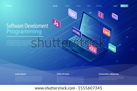Programming, software, web development concept isometric icon, laptop with program code on screen. Programming language and program code on screen laptop. Landing page concept.
