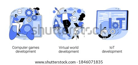 Programming team abstract concept vector illustration set. Computer games, virtual world and IoT development, VR graphic design, testing and deployment, Internet of things abstract metaphor.