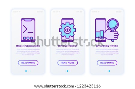 Programming thin line icons set: mobile programming, app development, app testing. Modern vector illustration for user mobile interface.
