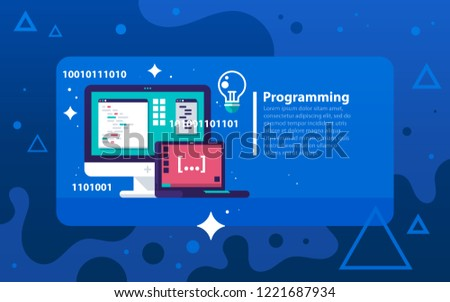 Programming. Vector illustration in modern flat style with bright colors. A desktop computer and a laptop with lines of code. Software development, scripting.