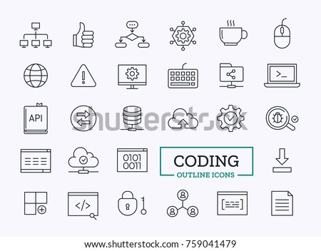 Programming Vector Outline Icons Set. Thin Line Coding Symbols for Website