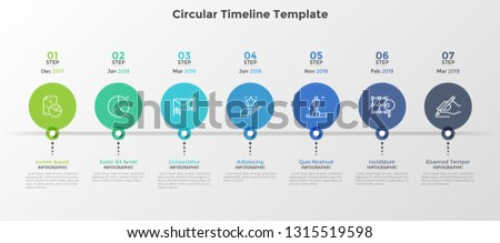 Progress bar with 7 circular elements connected by line and date indication. Seven steps of startup project development. Modern infographic design template. Vector illustration for business report.