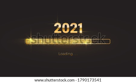 Progress bar with golden particles on black Download New Year's Eve. Loading animation screen with Glitter confetti shows almost reaching 2021. Creative festive banner with shiny progress bar