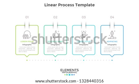 Progress bar with 4 rectangular elements connected by dotted line. Concept of four steps of strategic business planning. Creative infographic design template. Vector illustration for presentation.
