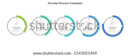 Progress bar with 5 round elements with pointers. Concept of five stages of marketing strategy. Simple infographic design template. Modern vector illustration for business information visualization.