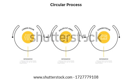Progress bar with three circular elements placed in horizontal row and connected by lines. Concept of 3 progressive steps of business process. Simple infographic design template. Vector illustration.
