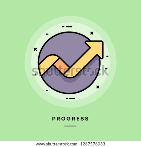 Progress, flat design thin line banner, usage for e-mail newsletters, web banners, headers, blog posts, print and more. Vector illustration.